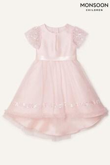 Monsoon Sequin Duchess Twill High-Low Dress
