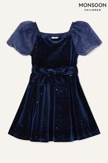 Monsoon Puff Sleeve Sparkle Dress