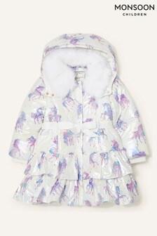 Monsoon Shimmer Unicorn Frill Padded Coat