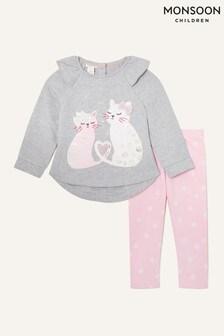 Monsoon Baby Cat Sweatshirt And Leggings Set