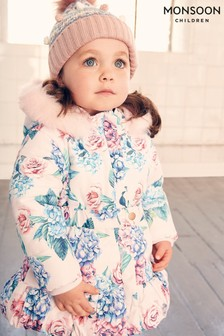 Monsoon Baby Floral Padded Puffball Coat