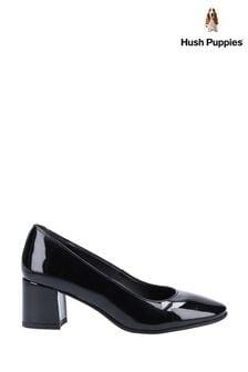 Hush Puppies Black Anna Patent Court Shoes