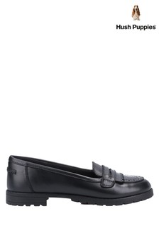 Hush Puppies Black Emer Junior School Shoes