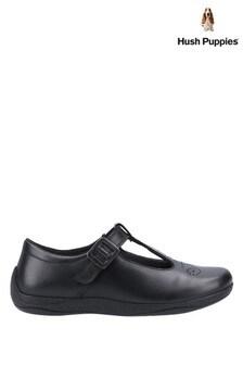 Hush Puppies Black Eliza Junior School Shoes