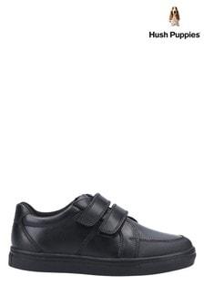 Hush Puppies Black Santos Senior School Shoes