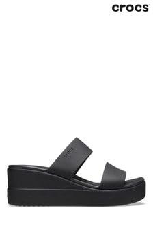 Crocs Black Brookly Mid Wedge Sandals