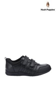 Hush Puppies Black Josh Junior School Shoes