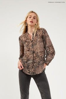French Connection Brown Animal Print Button Down Shirt