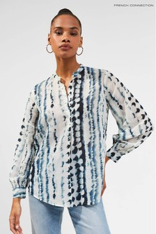 French Connection White Tie Dye Button Down Shirt