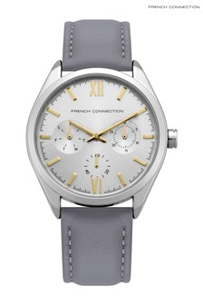 French Connection Grey Leather Strap Watch