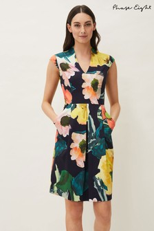 Phase Eight Blue Mila Floral Fitted Dress