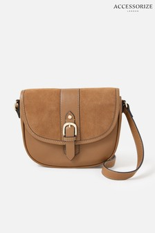 Accessorize Tan Beccy Leather Saddle Bag
