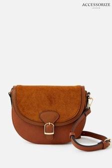 Accessorize Tan Nicola Saddle Cross-Body Bag