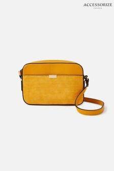Accessorize Yellow Piper Camera Croc Cross-Body Bag