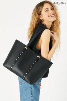 Accessorize Black Ali Studded Tote Bag
