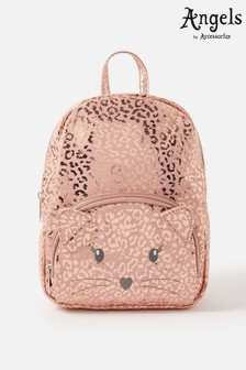 Angels by Accessorize Pink Cat Leopard Print Backpack