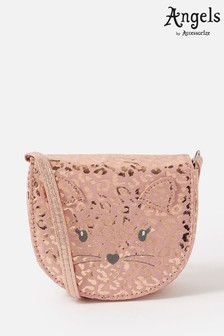 Angels by Accessorize Pink Cat Leopard Print Cross-Body Bag