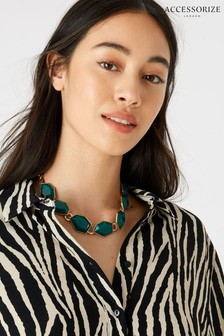 Accessorize Green Reconnected Statement Stone Collar Necklace