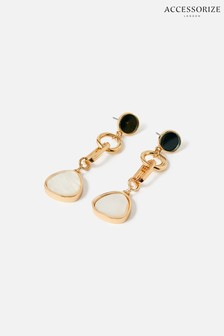 Accessorize Gold Tone Reconnected Stone Chain Statement Earrings