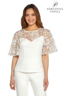 Adrianna Papell White Embroidered Crepe Top