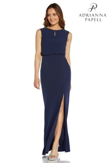 Adrianna Papell Blue Beaded Crepe Blouson Gown