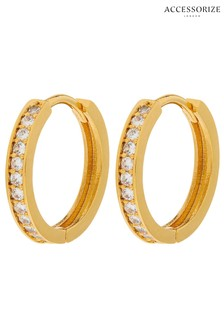 Accessorize Gold Plated Pave Huggie Hoops