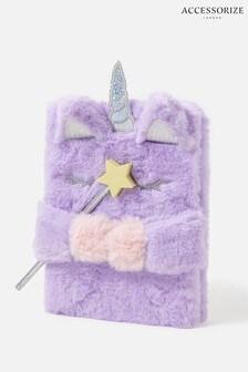 Accessorize Multi Fluffy Unicorn Notebook And Pencil