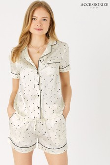 Accessorize Natural Star Print Satin Pyjama Set