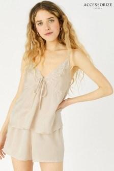 Accessorize Camel Satin And Lace Pyjama Set