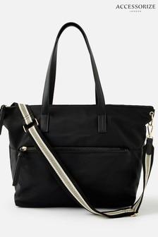 Accessorize Black Nadine Nylon Tote Bag