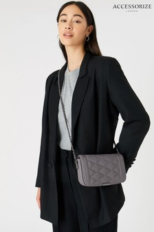 Accessorize Grey Chrissy Quilted Chain Cross-Body Bag