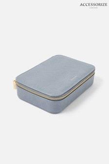 Accessorize Blue Josie Croc Jewellery Box