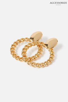Accessorize Gold Reconnected Chain Front Face Hoops