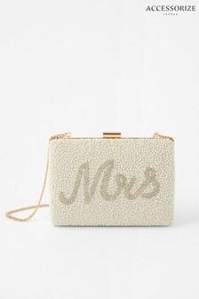 Accessorize Cream Mrs Beaded Clutch Bag