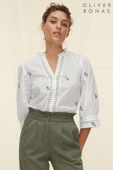 Oliver Bonas White Embroidered Ladder Trim Shirt
