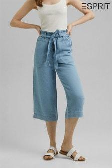 Esprit Blue Linen Blend Denim Culottes