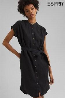Esprit Black Linen Shirt Dress