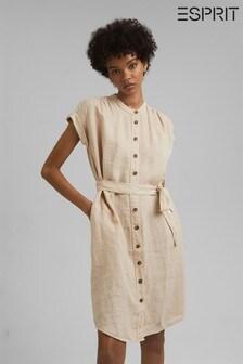 Esprit Beige Linen Shirt Dress