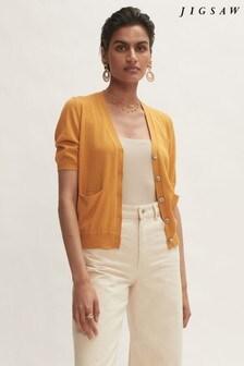Jigsaw Yellow Silk Cotton Cardigan