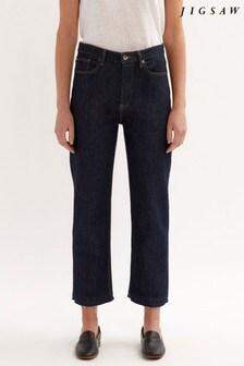 Jigsaw Blue Lea Straight Leg Crop Jeans