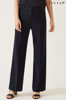 Jigsaw Black Modern Crepe Straight Trousers