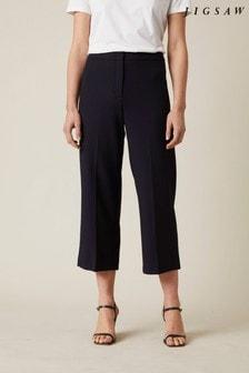 Jigsaw Blue Modern Crepe Crop Straight Trousers
