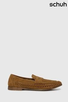 Schuh Tan Preston Woven Loafers