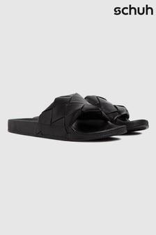 Schuh Black Tibby Weave Slide Sandals