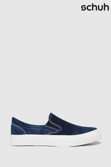 Schuh Blue Wells Slip-On Canvas Trainers