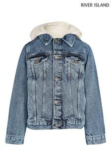 River Island Blue Chalk Hooded Denim Jacket