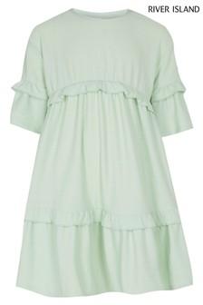 River Island Light Green Fochette T-Shirt Dress