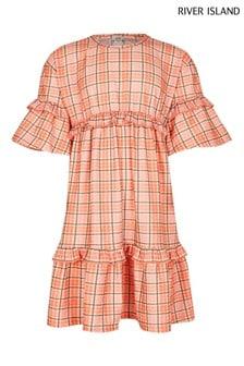 River Island Orange Check Fochette T-Shirt Dress