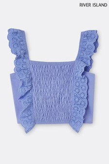 River Island Blue Shirred Broderie Frill Crop Top