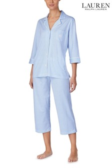 Lauren Ralph Lauren Blue Stripe 3/4 Sleeve Notch Collar Capri Pyjama Set